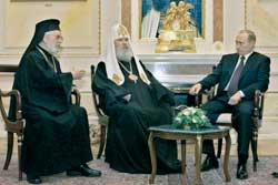 President Vladimir Putin with the Patriarch of Moscow Alexis II and the Patriarch of Antioch Ignatius IV