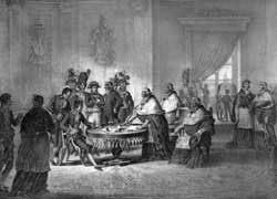 Below, Napoleon imposes the Treaty of Tolentino on Pius VI (19 February 1797) that sanctioned the definitive loss of Avignon and the Contado Venassino