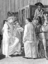 Pius VI departs for Siena, painting in the Vatican Museums. On 15 February 1798 French soldiers entered Rome and proclaimed the Roman Republic. The Pope was forced to escape, first to Siena then to the charterhouse of San Casciano, near Florence, and finally to Valence where he was to die on 29 August 1799