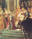 Above, the crowning of Napoleon in the presence of Pope Pius VII, painting of Jacques-Louis David, Museum of the Louvre, Paris. Elected emperor of France by plebiscite, Napoleon invited Pius VII to the coronation. The ceremony took place in Notre-Dame on 2 December 1804; the Pope stands by at the self-crowning of Napoleon