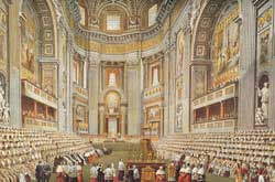 The opening of Vatican Council I on 7 December 1869. On 8 December 1864 Pius IX promulgated the Syllabus, a list of eighty philosophical and ethico-political errors