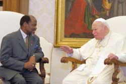 John Paul II giving an audience to President Joaquim Alberto Chissano of Mozambique, 17 April 2004. Archbishop Lajolo in his interview affirms that talks are underway for 