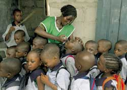 Children in a school in Lagos Nigeria being given the anti-polio vaccine