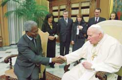 John Paul II with Kofi Annan, 18 February 2003