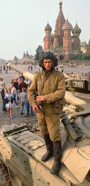 Red Square occupied by tanks backing the coup during one of the most chaotic moments of Russia's fateful 1991