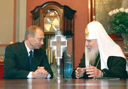 The Russian president Vladimir Putin with Patriarch Alexis II of Moscow