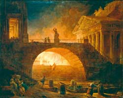 The burning of Rome, Robert Hubert (1733- 1808), Musée André Malraux, Le Havre, France