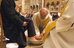 The Archbishop during the liturgy of the washing of the feet in Canterbury Cathedral, 17 April 2003