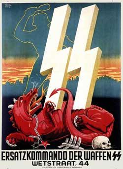 """Arriba, un manifiesto de las SS (Schutz-Staffeln, """"Escuadras de protección"""") con la estilización rúnica de la sigla. Los símbolos rúnicos fueron estudiados por Guido von List, un esoterista interpelado por Adolf Hitler (debajo) en los años de su formación intelectual"""
