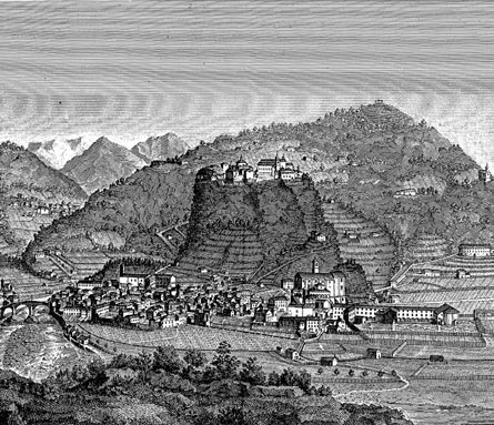 Varallo in a print of 1830, taken from the<i>Storia del Sacro monte di Varallo</i> by G. Bordiga