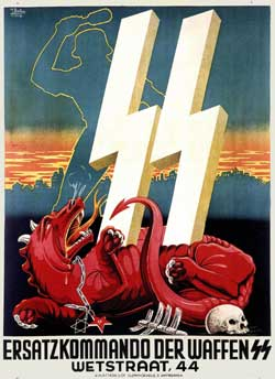 """No alto, um cartaz das SS (Schutz-Staffeln, """"Esquadrões de Proteção""""), com a estilização rúnica da sigla. Os símbolos rúnicos foram estudados por Guido von List, um esoterista que foi referência  para Adolf Hitler (embaixo) nos anos de sua formação intelectual"""