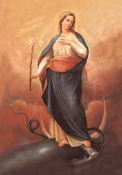 The Immaculate Conception painted by Silvio Capparoni donated to the Conceptionist fathers by Pope Pius IX
