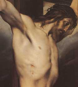 <i>Crucifix with the kneeling and weeping Magdalen</i>, detail, Francesco Hayez, Quadreria Arcivescovile, Milan