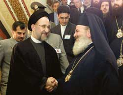 Archbishop Christodoulos with the Iranian President Mohammad Khatami in Athens 15 March 2002
