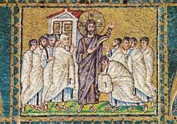The risen Jesus with Thomas and the other apostles, mosaic, Basilica of Sant' Apollinare Nuovo, Ravenna