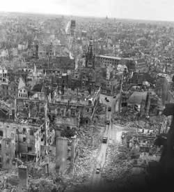 The city of Münster destroyed by Allied bombing