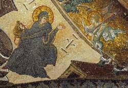 Nelle immagini che seguono, i mosaici della chiesa di Cristo Salvatore in Chora, 1320 circa, Museo di Kariye Camii, Istanbul, Turchia. Qui sopra, l'Annunciazione, particolare
