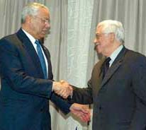 Powell with the president of the PLF, Abu Mazen, Jericho, 22 November 2004