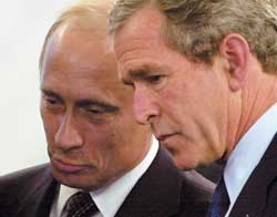 George W. Bush with Vladimir Putin