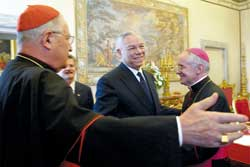 Powell in the Vatican on 2 June 2003 with Cardinal Angelo Sodano, Secretary of State of the Holy See, 