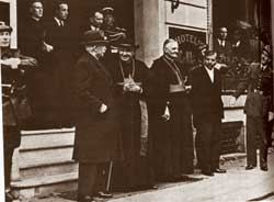 Cardinal Suhard, Archbishop of Paris, and Cardinal Gerlier, Archbishop of Lyons, with General Petain (first on the left)