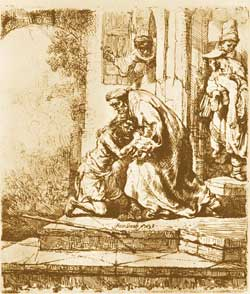 The return of the prodigal son, Rembrandt, etching, Pierpont Morgan Library, New York
