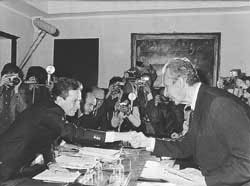 Enrico Berlinguer, Secretary of the PCI, shaking hands with Aldo Moro, President of the DC, 20 May 1977