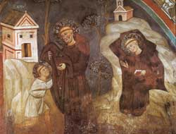 Vesting of Benedict by the monk Romano and Withdrawal inside the cave in prayer, Magister Conxolus, Stories of Saint Benedict, Lower Church, Subiaco