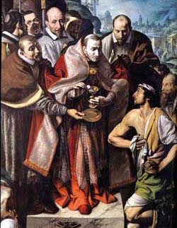 Saint Charles gives communion to the  infected , Tanzio da Varallo, collegiate church of Saints Gervasius and Protasius, Domodossola (VB)