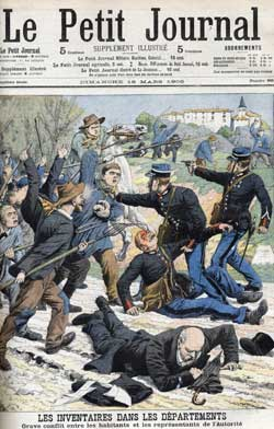 Above top, the cover of Le Petit Journal of March 1906 devoted to the serious clashes between the inhabitants and the authorities in Haute Loire after the approval of the law of separation between State and Church; 