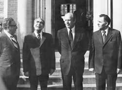 Above, from left, Henry Kissinger, the Secretary of the CPSU Leonid Breznev, the US President Gerald Ford and Andrey Gromyko in Helsinki 