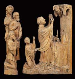 Saint Erhard raises the consecrated Host, sculpture in lime wood from the second half of the XIV century attributed 