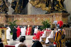 Cardinal José Saraiva Martins presiding at the celebration for the beatification of the servants of God Ascensión Nicole Goñi and Marianne Cope, Saint Peter's Basilica, 14 May 2005
