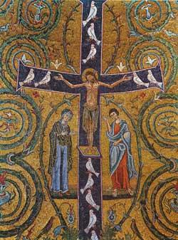 La Cruz: árbol de la vida, detalle  del mosaico del ábside del siglo XII  de la Basílica de San Clemente de Roma