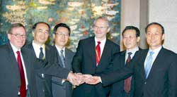 A picture of the opening of negotiations in Peking on the nuclear disarmament of North Korea, September 2005
