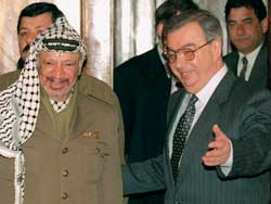 Above, Primakov  with Yasser Arafat 