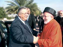 Here above, Iraqi President Jalal Talabani with Patriarch Emmanuel III Delly in the residence of the Opera della Chiesa in Rome, Novemebr 10 2005