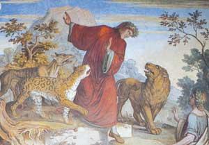 Dante assalito dalle tre fiere (Inferno, I), particolare dell'affresco  di  Joseph Anton Koch,  Stanza di Dante, Casino Massimo, Roma