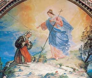 Apparition of the Virgin to Vincenza Pasini, a lunette wall oil painting by Rocco Pitacco in the Basilica in 1883