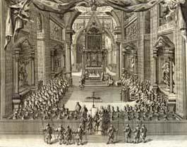 Illustrazione con cui si apre l'edizione degli Atti del Sinodo romano del 1725 stampata in Roma nello stesso anno dalla tipografia  Rocchi Bernabò