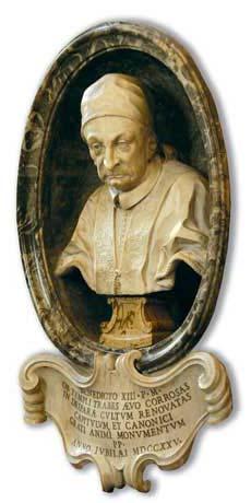 Busto di Benedetto XIII, Pietro Bracci, battistero della Basilica di Santa Maria Maggiore, Roma
