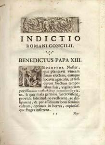 L'incipit degli Atti del Sinodo romano  del 1725 stampati in Roma  dalla tipografia Rocchi Bernabò