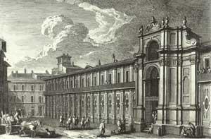 L'Ospedale di San Gallicano in Trastevere in una stampa  di Giuseppe Vasi, metà del XVIII secolo