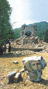 The church of the monastery of Lesok, Kosovo, mined in 2001. 112 churches have been blown up since 1999