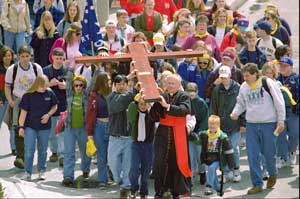 Cardinal Keeler in procession with the young people of Baltimore