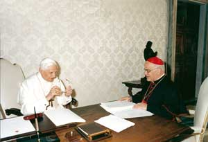 Benedict XVI with Cardinal José Saraíva Martins received in audience 