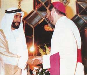 Monsignor Gremoli with Sheikh Zayed Bin Sultan Al Nahyan