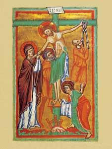 In queste pagine, miniature tratte dall'evangeliario dell'inizio del XIII secolo conservato nell'abbazia benedettina di Groß Sankt Martin a Colonia: la deposizione.