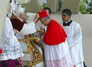 Benedict XVI placing the cardinal's biretta on Nicholas Cheong Jinsuk