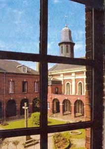 The cloister of the convent of Lisieux seen from the window 